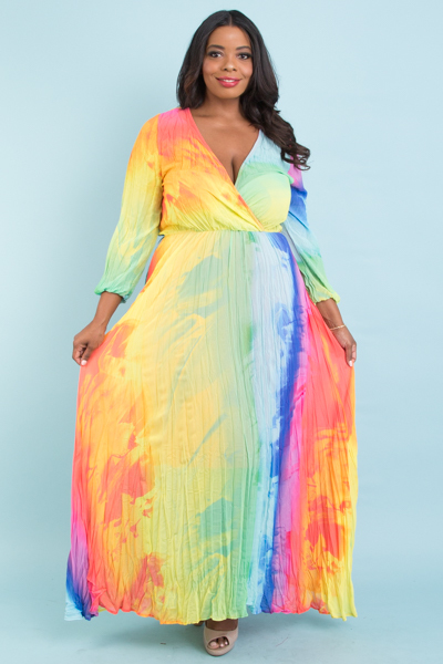 LONG PUFF SLEEVE OVERLAP FRONT PRINTED MAXI DRESS