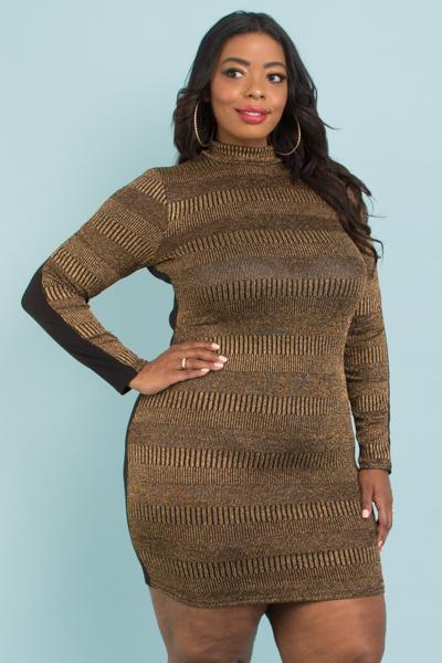 Plus Size Metallic Gold Long Sleeve Dress