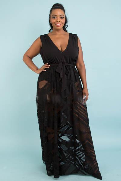 Plus Size Lace Combination Maxi Dress