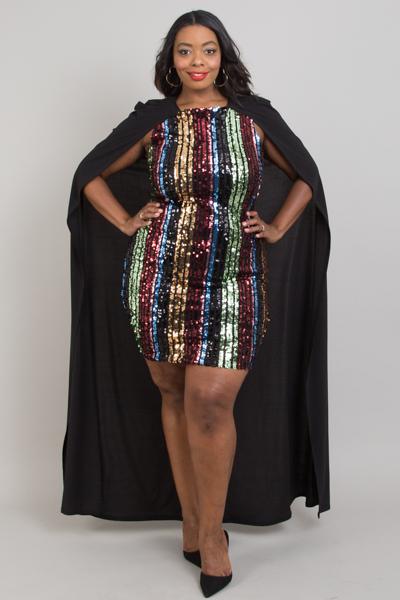 Plus Size Multi Color Sequin Stripes Cape Dress
