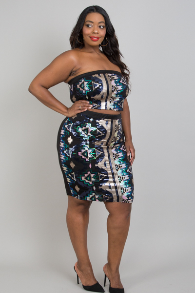 Plus Size Aztec Sequins Skirt Sets