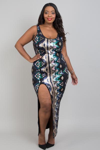 Plus Size Aztec Sequins Slip Open Dress