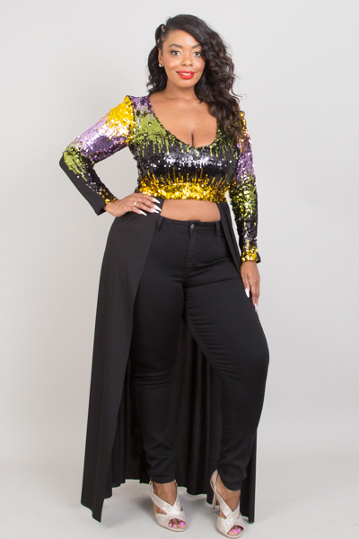 Plus Size Sequin Two Tone Maxi Top