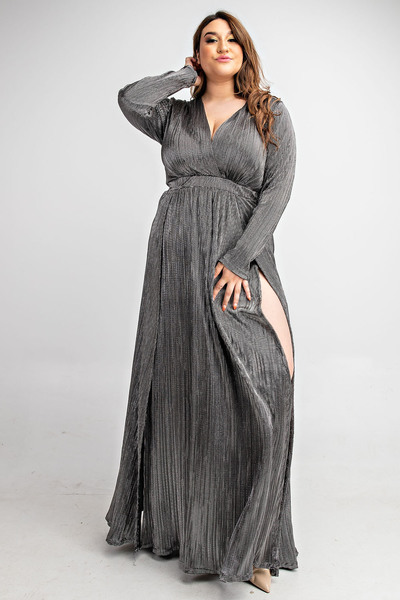 LONG SLV SURPLICE MAXI DRESS WITH FRONT SLITS