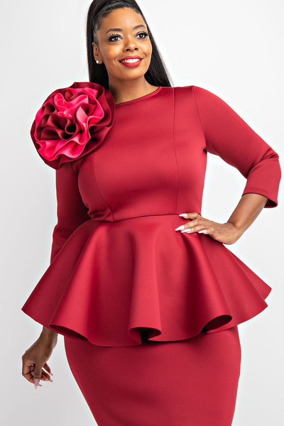 3/4 SLV PEPLUM DRESS WITH FLOWER