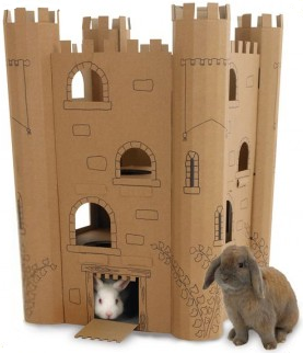 Rabbit Chew Toys Cardboard Castle