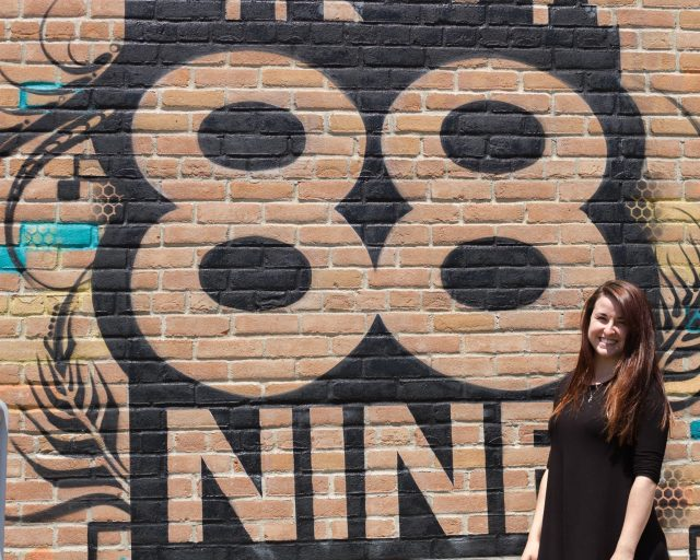 UW-Whitewater intern, Karlie, smiles on the 88Nine rooftop.