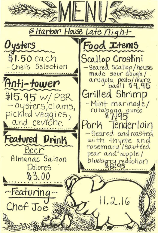 Harbour House late night menu