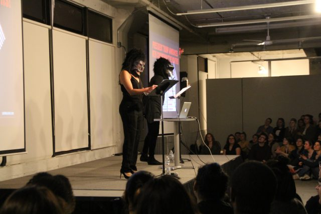 The Guerrilla Girls speak at Milwaukee Institute of Art and Design this past Wednesday as a part of MIAD's Creativity Series.