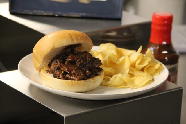 Barbecue brisket sandwich with classic potato chips from Smoke Shack.