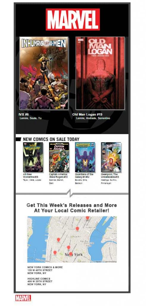 Marvel Email Geotargeting Example