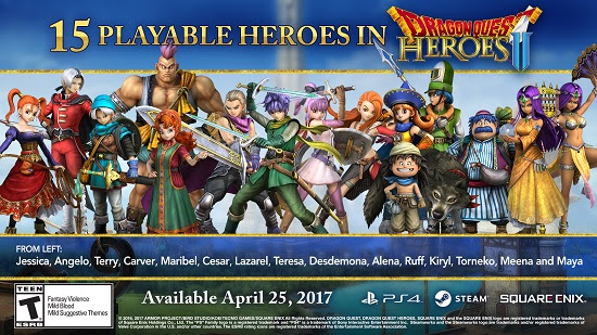 Dragon Quest Heroes II - 15 playable heroes