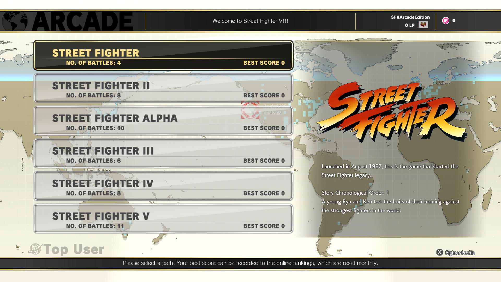 Street Fighter V: Arcade Edition - Arcade Menu