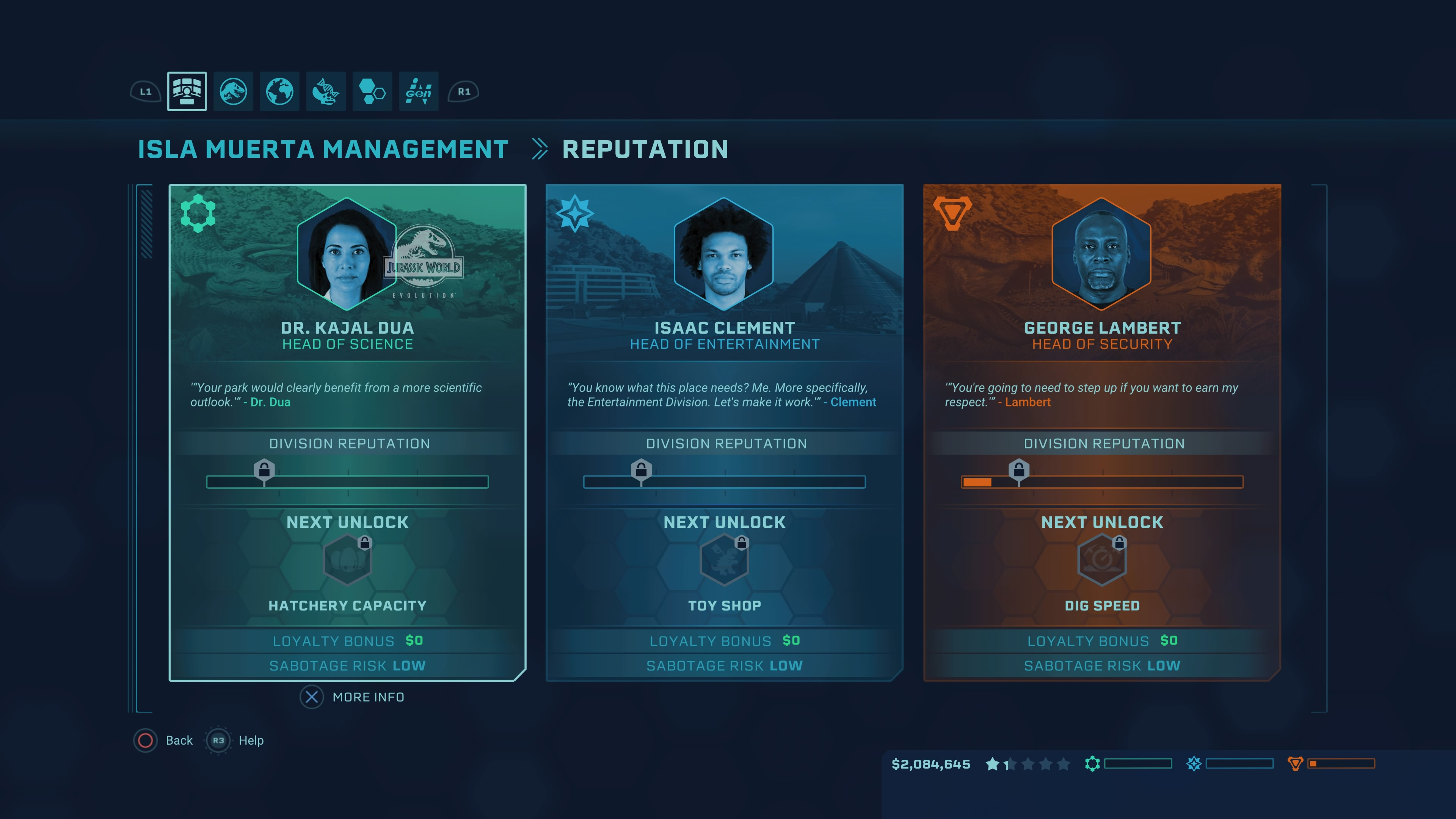 Jurassic World Evolution - Management