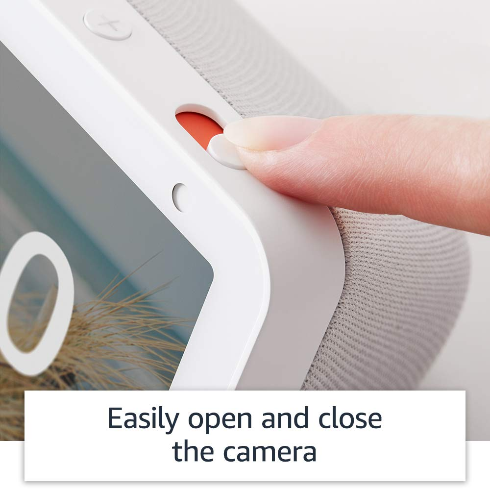 Echo Show 5 camera shutter switch ensures privacy.