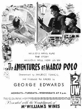 "An advertisement for ""The Adventures of Marco Polo"" - February 1940"