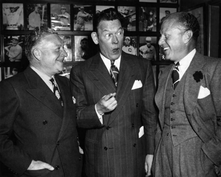 "By the time that Charles Correll (left) and Freeman Gosden (right) posed with comedian Fred Allen in May 1944, ""Amos 'n' Andy"" had been transformed from a fifteen-minute daily serial into a highly successful half-hour weekly comedy series."