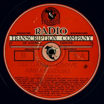 Thanks to Transco, the Transcription Company of America, we can still enjoy many of the melodies once heard in this legendary night spot.