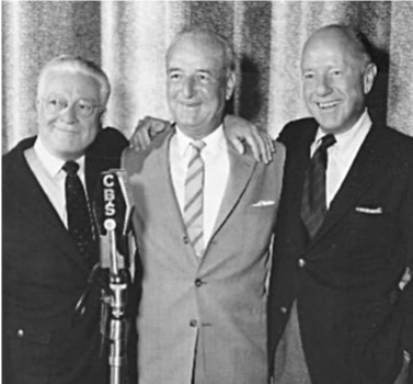 Correll and Gosden reunite with long-time announcer Bill Hay in this CBS photo from 1952.