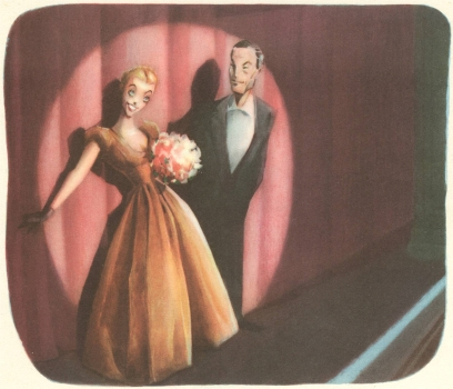 "NBC artist Sam Berman's interpretation of ""Curtain Time"", circa 1948"