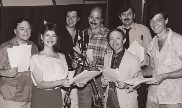 "The cast of ""The Adventures of Doc Savage"" gathers for a recording session in 1985. (Photo courtesy Roger Rittner)"