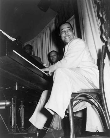 Duke Ellington and his Famous Orchestra perform at the Hurricaine Club in 1943.