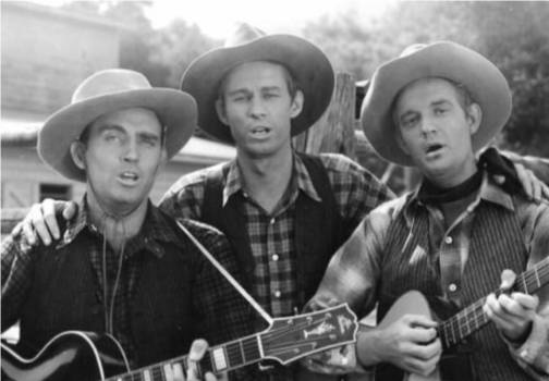 Foy Willing and two of the Riders of the Purple Sage in a still from one of their films for Columbia Pictures
