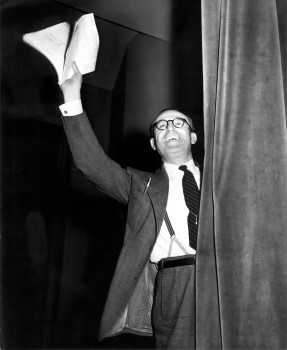 "Lloyd bids goodbye to the audience following a broadcast of ""The Old Gold Comedy Theatre"""