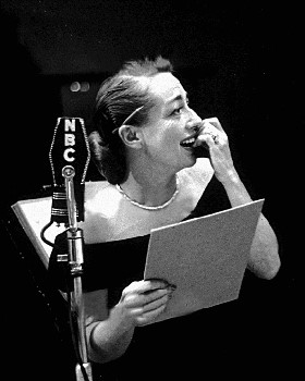 "Joan Crawford rehearses a script for ""Screen Director's Playhouse"""