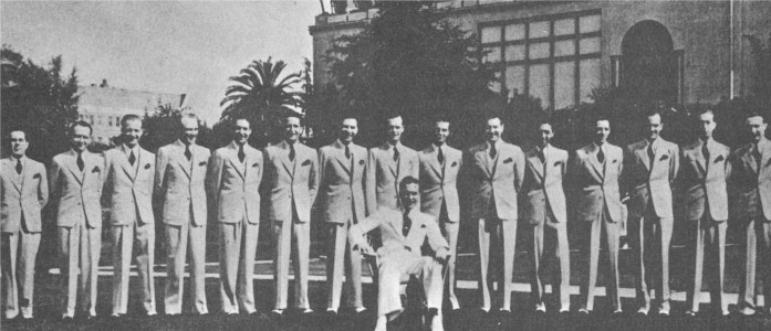 Phil Harris and his Orchestra pose on the front lawn of the Hotel Ambassador, circa 1932