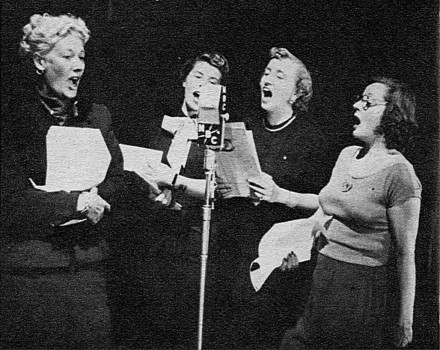"Joan Davis, Mindy Carson, Margaret Truman, and Tallulah Bankhead form a unique quartet during a ""Big Show"" rehearsal"