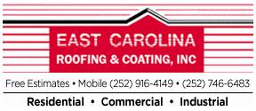 Website for East Carolina Roofing & Coating Inc.