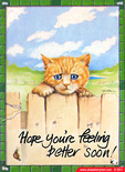 Kitten Get Well cartoon eCard