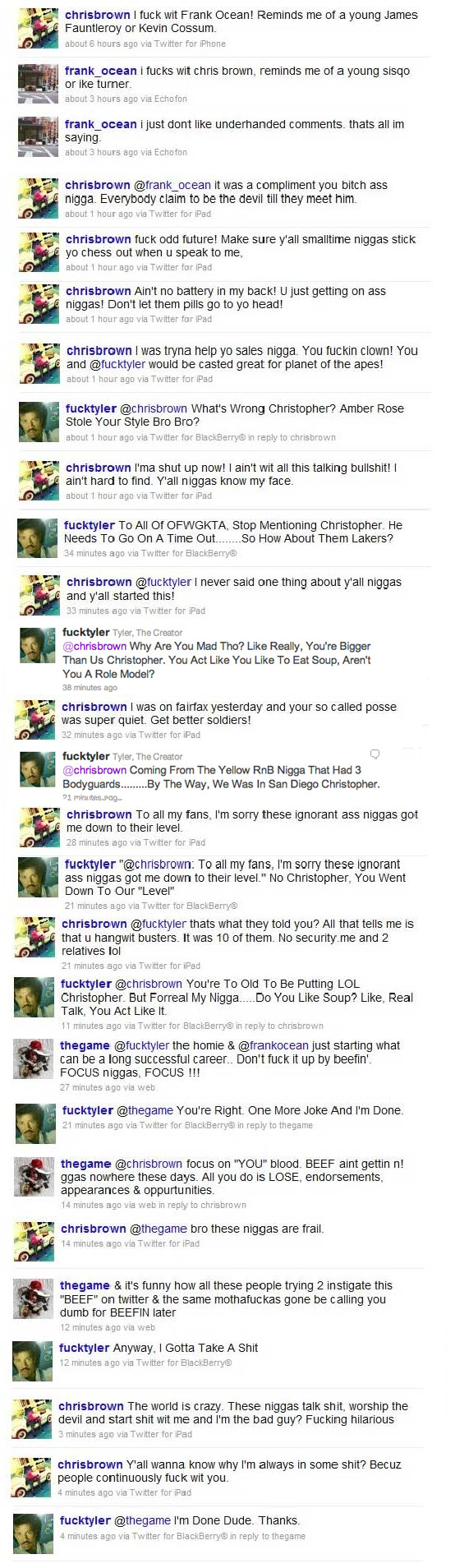 Chris Brown vs Tyler &amp; Frank Ocean Tweets