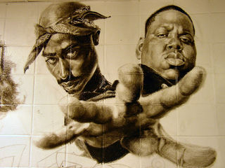 New york has the GOAT Tupac Mural   Sports, Hip Hop & Piff ... Tupac And Biggie Painting