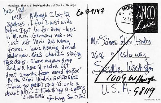 jimi hendrix � postcard to james allen ross hendrix genius