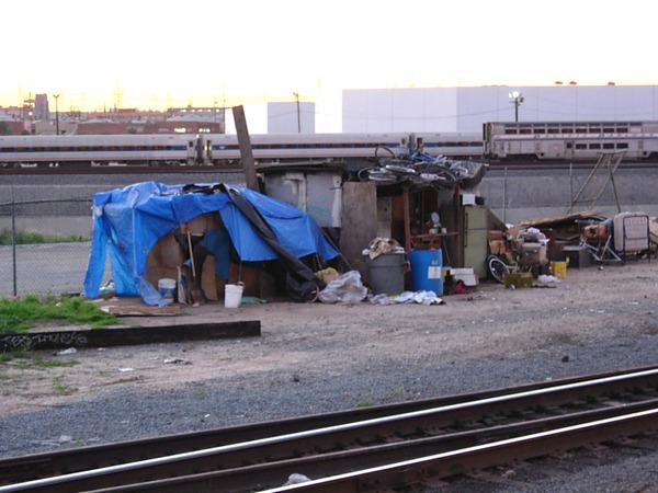 homeless cardboard box: