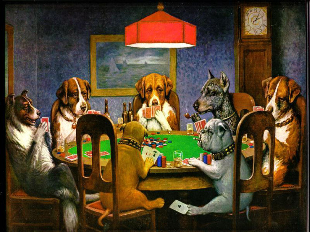 dog playing poker meaning