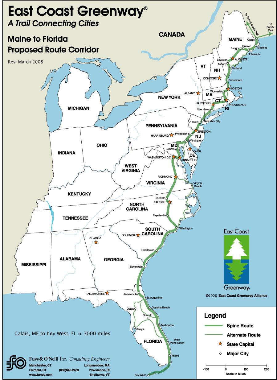 Map Of East Coast Usa And Canada