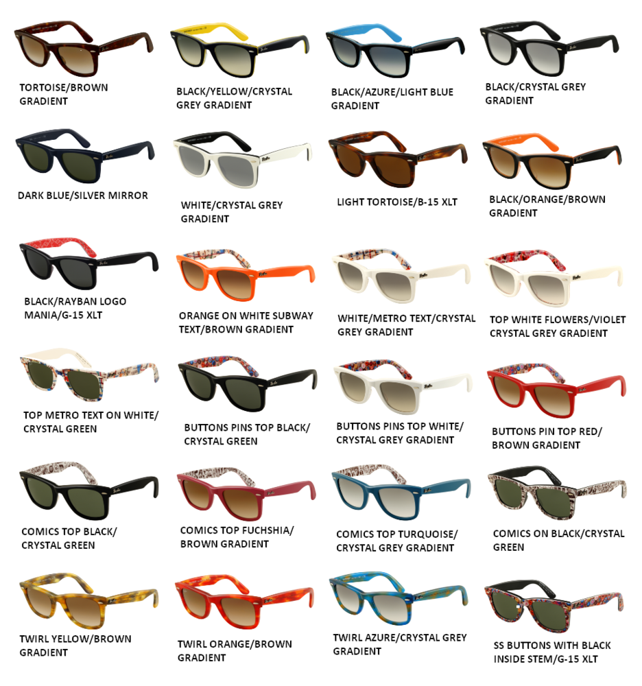 ray ban wayfarer colors gk4e  All Ray Ban Styles