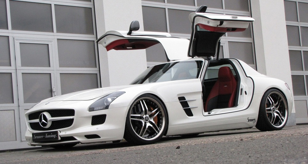 This is likely a reference to the mercedes sls pictured for Mercedes benz suicide doors