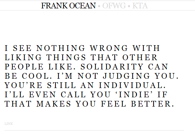 Frank Ocean Tumblr post on Solidarity Lyrics Genius