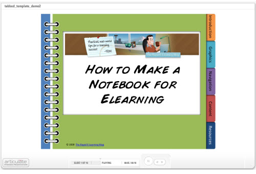 Articulate Rapid E-Learning Blog - example of tabbed template