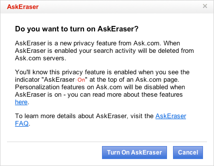 Ask.com's AskEraser