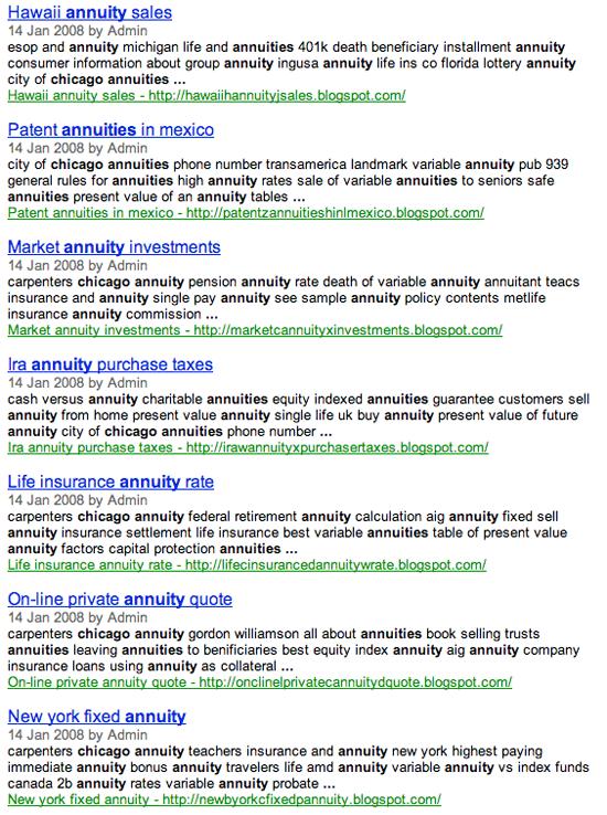 Google Blog Search Keyword Stuffing Results
