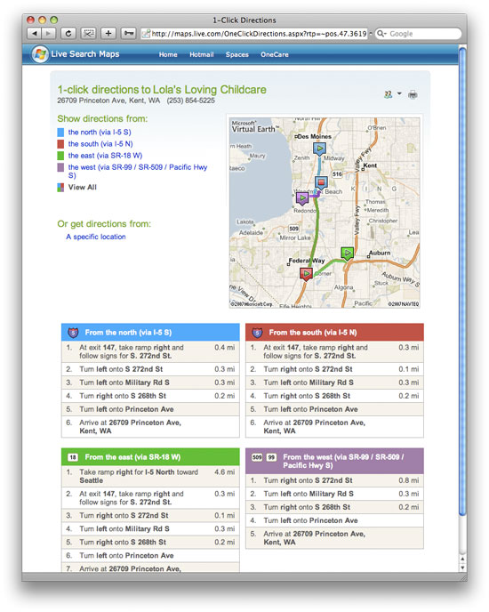 Live Search Directions Results Screenshot
