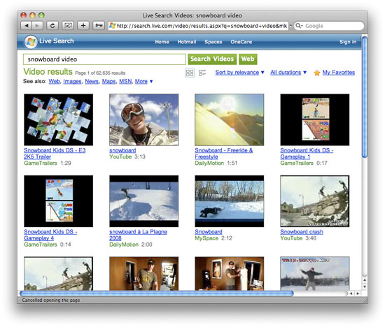 Live Search Video Results Screenshot