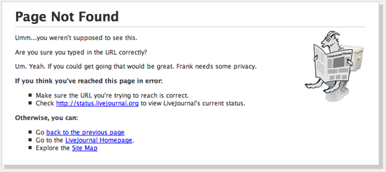 LiveJournal 404 Page