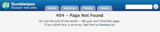 StumbleUpon 404 Page