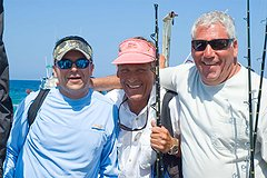Rafa of Team Keep Fishing from Venezuela with Texans John Price and Bill Cowen after a day on the water. / Mario Bañaga